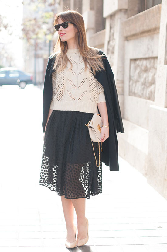 Street Style - The Top Blogger Looks Of The Week: Fashion blogger 'Macarena Gea' wearing a black light coat, a cream crop sweater, a black sheer dotted midi skirt, nude heels, black sunglasses and a nude shoulder bag