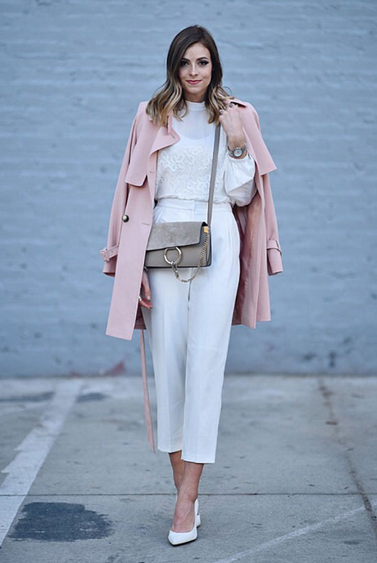 street style - The Top Blogger Looks Of The Week: Fashion blogger 'Navy Grace' wearing a blush trench coat, a white lace and mesh long sleeve top, white ankle pants, white pointy toe heels and a light grey suede shoulder bag. Work outfits, office wear, spring outfits, fall outfits