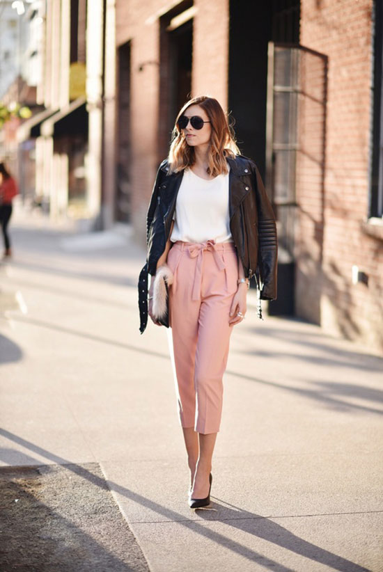 street style - The Top Blogger Looks Of The Week: Fashion Blogger 'Navy Grace' wearing a black leather jacket, a white short sleeve v-neck t-shirt, light pink belted ankle pants, black pointy toe heels, black aviator sunglasses and a white fur clutch - spring outfit - work outfit