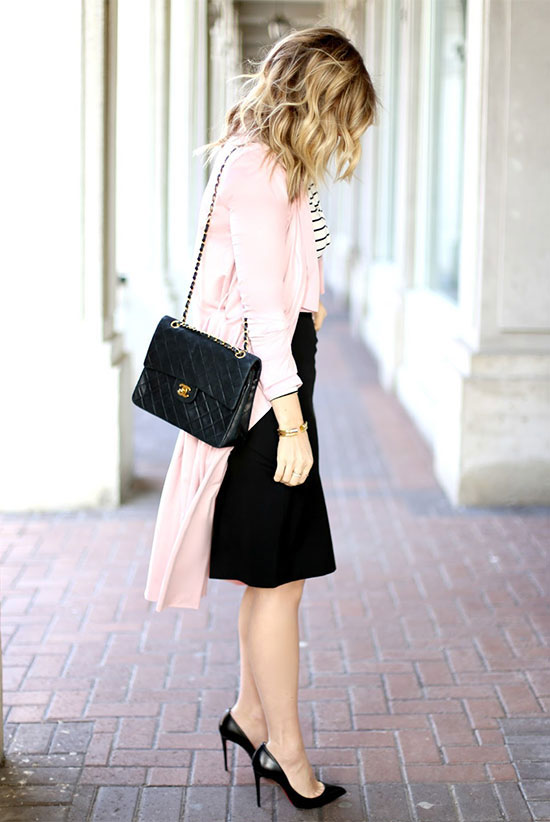 spring work outfits - 30 Spring Work Outfits To Try Right Now: Fashion Blogger 'Suburban Faux Pas' wearing a blush trench coat, a striped blouse, a black pencil skirt, black pointy toe heels and a black shoulder bag