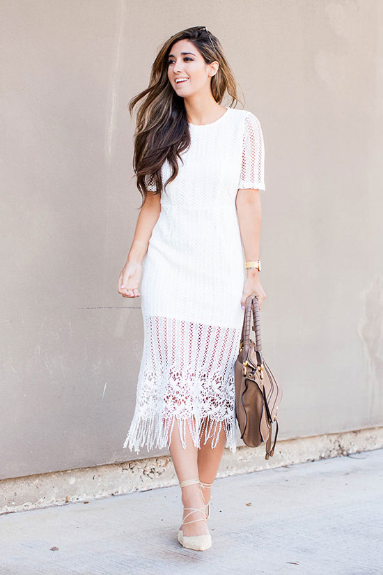 street style - The Top Blogger Looks Of The Week: Fashion blogger 'The Darling Detail' wearing a white lace short sleeve midi dress, nude lace-up pointy toe heels and a light brown handbag. summer outfits, party outfits, summer dress