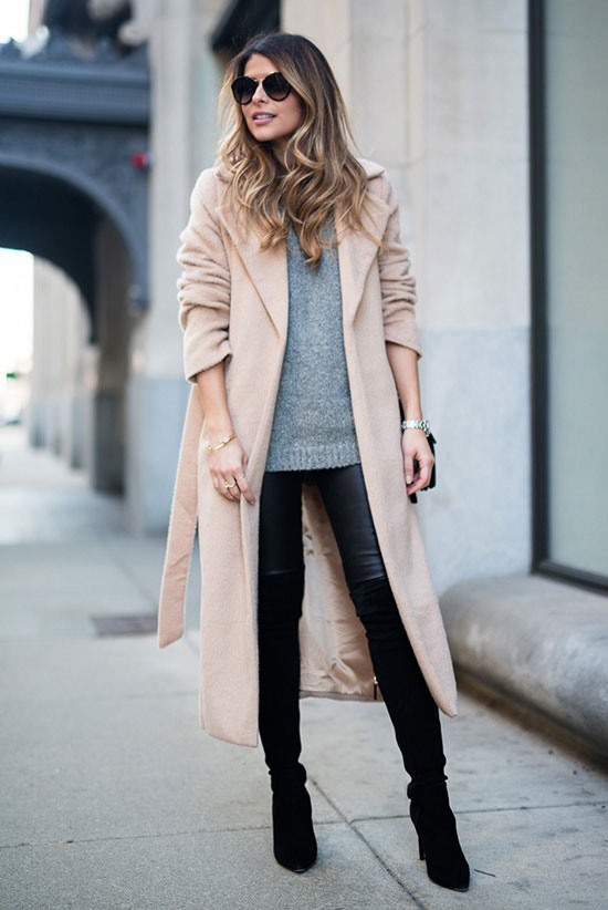 Street Style - The Top Blogger Looks Of The Week: Fashion blogger 'The Girl From Panama' wearing a light pink coat, a grey sweater, black leather leggings, black suede heeled over the knee boots and black sunglasses