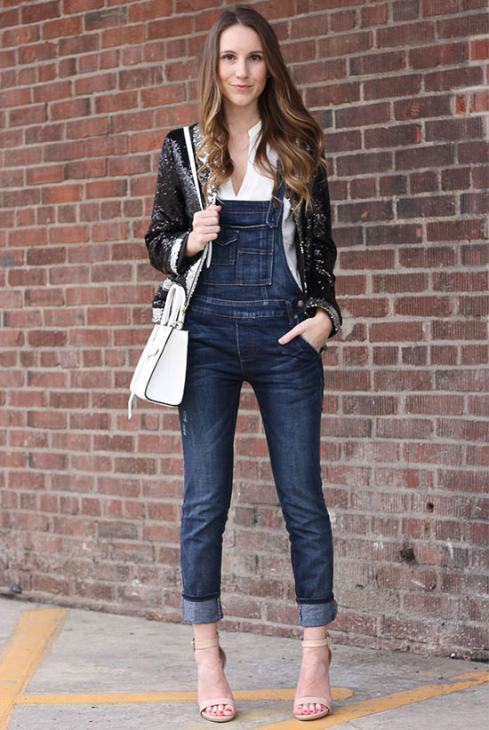 street style - The Top Blogger Looks Of The Week: Fashion Blogger 'Twenties Girl Style' is wearing a black sequin blazer, a white shirt, denim overalls, nude ankle strap heeled sandals and a white shoulder bag - spring outfit - fall outfit