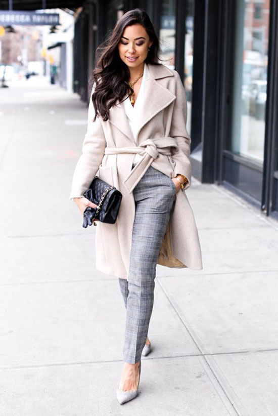 spring work outfits - 30 Spring Work Outfits To Try Right Now: Fashion Blogger 'With Love From Kat' wearing an ivory belted coat, a black cami top, light grey check print ankle pants, light grey pointy toe heels and a black shoulder bag