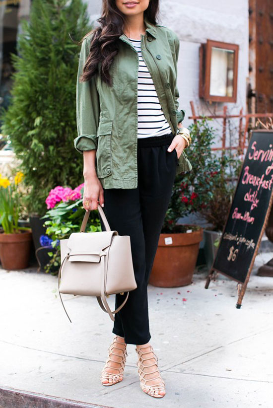 spring work outfits - 30 Spring Work Outfits To Try Right Now: Fashion Blogger 'With Love From Kat' wearing a military utility jacket, a striped t-shirt, black ankle pants, nude lace up heeled sandals and a nude handbag