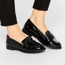 New Look Patent Loafers, black loafers, black patent loafers, black patent flats, black patent flat shoes, black flats, black tassel loafers