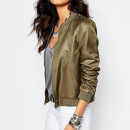 Noisy May Bomber Jacket, olive bomber jacket, military green bomber jacket, khaki bomber jacket
