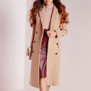 Missguided double breasted coat, brown coat, camel coat, brown long coat, camel long coat