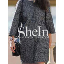 Shein Collarless Pockets Coat, grey coat, black coat, herringbone coat, grey boxy coat, black boxy coat, grey cocoon coat, black cocoon coat, grey crop sleeve coat, black crop sleeve coat
