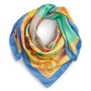 Karen Mabon 'New York, New York' Scarf, yellow scarf, yellow neckerchief, gold scarf, gold neckerchief, yellow silk scarf, gold silk scarf, blue silk scarf, blue scarf, colorful scarf, colorful silk scarf, colorful neckerchief