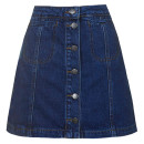 Topshop Denim Skirt ($52 USD), denim a-line skirt, denim a-line mini skirt, denim button front mini skirt, denim button front skirt