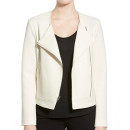 cupcakes and cashmere 'Cheyenne' Jacket, white moto jacket, white jacket, white zipper jacket