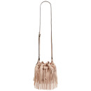 Sole Society Mini Fringe Bag, pink bag, pink shoulder bag, blush bag, blush shoulder bag, pink fringe bag, pink fringe shoulder bag, pink fringe bucket bag