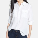 Equipment 'Slim Signature' Shirt, white shirt, white blouse, white silk shirt, white silk blouse, white pocket shirt, white pocket blouse