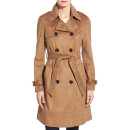 Via Spiga Faux Suede Trench Coat, brown trench coat, brown suede trench coat