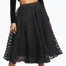 Boohoo Olivia Midi Skirt, black midi skirt, black polka dot midi skirt, black sheer midi skirt, black organza midi skirt