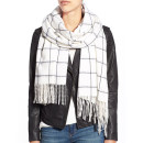 rag & bone 'Brushed Check' Scarf ($195 USD), white plaid scarf, black plaid scarf, white check scarf, black check scarf, white windowpane scarf, black windowpane scarf
