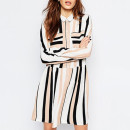 Vila Stripe Dress ($72 USD), multi-stripe dress, striped dress, long sleeve stripe dress, long sleeve drop waist dress, pink stripe dress, black stripe dress, white stripe dress, multi-color stripe dress