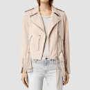 Allsaints Leather Biker Jacket, light pink leather jacket, blush leather jacket, pale pink leather jacket