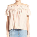 Lucca Couture Off-the-Shoulder Blouse, light pink off the shoulder top, light pink off shoulder top, pale pink off shoulder top, pale pink off the shoulder top, blush off shoulder top, blush off the shoulder top
