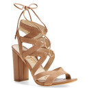 Sam Edelman 'Yardley' Sandal, nude sandals, nude heeled sandals, nude heels, nude block heel sandals, nude lace up sandals, nude lace up heeled sandals, nude block heel lace up sandals