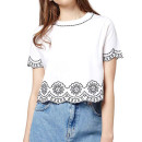 Topshop Embroidered Crop Tee, white crop top, white short sleeve crop top, embroidered crop top
