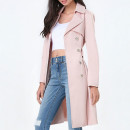 Bebe Trench Coat, light pink trench coat, blush trench coat