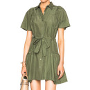 Marissa Webb Ilsa Dress, olive shirt dress, olive short sleeve shirt dress, military shirt dress, military short sleeve shirt dress