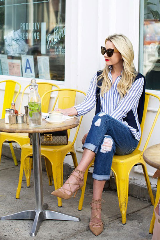 Street Style - The Top Blogger Looks Of The Week: Fashion blogger 'Atlantic-Pacific' wearing a blue stripe shirt, a navy sweater, distressed boyfriend jeans, camel lace-up heels, black cat eye sunglasses and a black shoulder bag. Spring Outfit, casual outfit, street chic style.