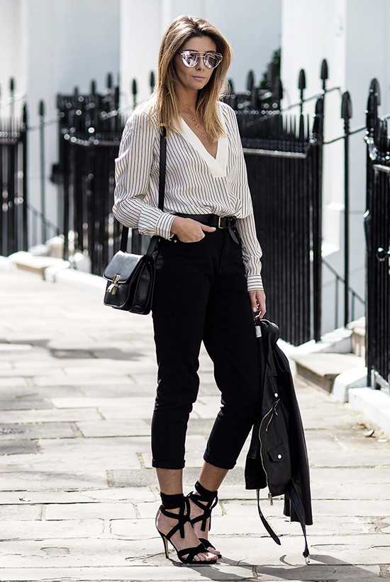 Street Style - The Top Blogger Looks Of The Week: Fashion blogger 'EJ Style' wearing a black and white stripe blouse, black ankle pants, black lace-up sandals, a black belt, a black leather jacket, mirror sunglasses and a black shoulder bag. Spring outfit, casual outfit, work outfit, night out outfit, street chic style.