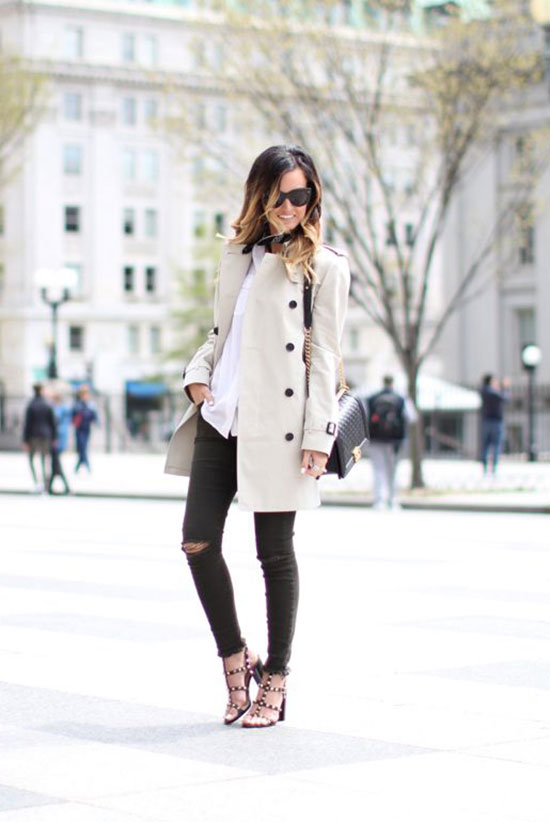20 Ways To Style Your Favorite Trench Coat: Fashion Blogger 'For All Things Lovely' wearing a beige trench coat, a white shirt, a black bandana, black distressed skinny jeans, brown studded block heel sandals, black sunglasses and a black shoulder bag. Trench coat outfit, spring outfit, casual outfit, street style, street chic style.