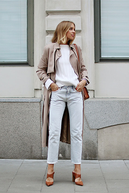Street Style - The Top Blogger Looks Of The Week: Fashion Blogger 'Hanna Stefanson' wearing a beige trench coat, a white sweater, light crop straight jeans, light brown mule heels and a brown shoulder bag. Fall outfit, spring outfit, casual outfit, street chic style, trench coat outfit.