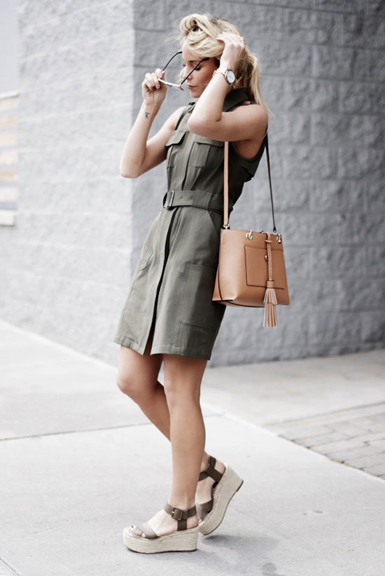 Street Style - The Top Blogger Looks Of The Week: Fashion Blogger 'Happily Grey' wearing an olive sleeveless shirt dress, olive espadrille platform wedges, mirror sunglasses and a light brown shoulder bag. Summer outfit, comfy outfit, casual outfit, beach outfit, getaway outfit, vacation outfit.