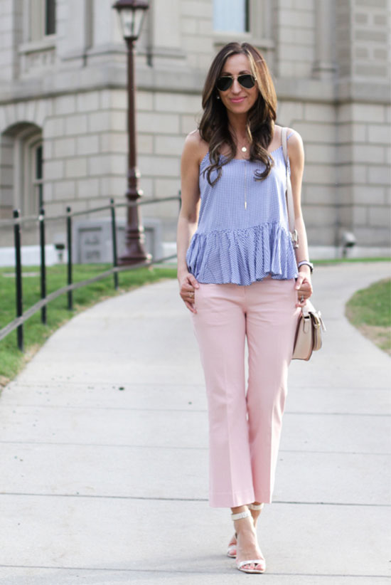 Street Style - The Top Blogger Looks Of The Week: Fashion Blogger 'Lilly Style' wearing a pale blue peplum cami top, pale pink crop pants, white heeled sandals, aviator sunglasses and a nude shoulder bag. Summer outfit, casual outfit, date night outfit, street chic style.