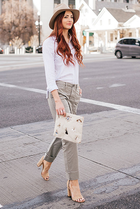 Street Style - The Top Blogger Looks Of The Week: Fashion blogger 'Little J Style' wearing a beige fedora, a light blue stripe shirt, khaki cargo pants, nude block heel sandals and a cream clutch. Casual outfit, spring outfit, summer outfit, street chic style.