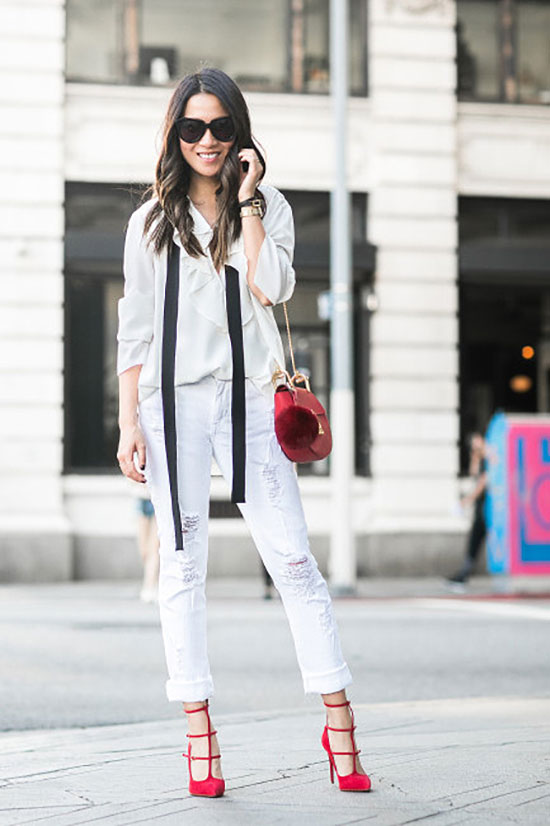 Street Style - The Top Blogger Looks Of The Week: Fashion blogger 'Wendy's Lookbook' wearing a white shirt, white distressed boyfriend jeans, a black skinny scarf, red strap heels, black sunglasses, a red shoulder bag and a red pom pom bag charm, party outfit, spring outfit, summer outfit, casual outfit, night out outfit