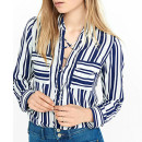 Express Striped Lace Up Blouse, blue stripe blouse, blue stripe lace up blouse, blue stripe lace up top