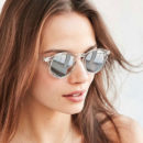 Clear Sky Round Sunglasses, clear sunglasses, clear round sunglasses, clear mirror sunglasses, clear round mirror sunglasses