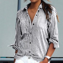 Romwe Striped Blouse, black stripe shirt, black stripe blouse, black and white stripe shirt, black and white stripe blouse, black stripe button down, black and white stripe button down