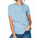 Boohoo Millie Ruffle T-Shirt, pale blue ruffle top, light blue ruffle top, pale blue t-shirt, light blue t-shirt