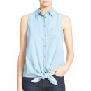 Equipment 'Mina' Shirt, denim sleeveless shirt, chambray sleeveless shirt, denim sleeveless top, chambray sleeveless top
