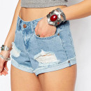 Noisy May Cut Off Denim Shorts, distressed denim shorts, destroyed denim shorts, cut off denim shorts, rolled denim shorts