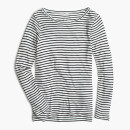 J Crew Drapey Stripe T shirt, stripe long sleeve t-shirt, black stripe t-shirt, black long sleeve stripe t-shirt