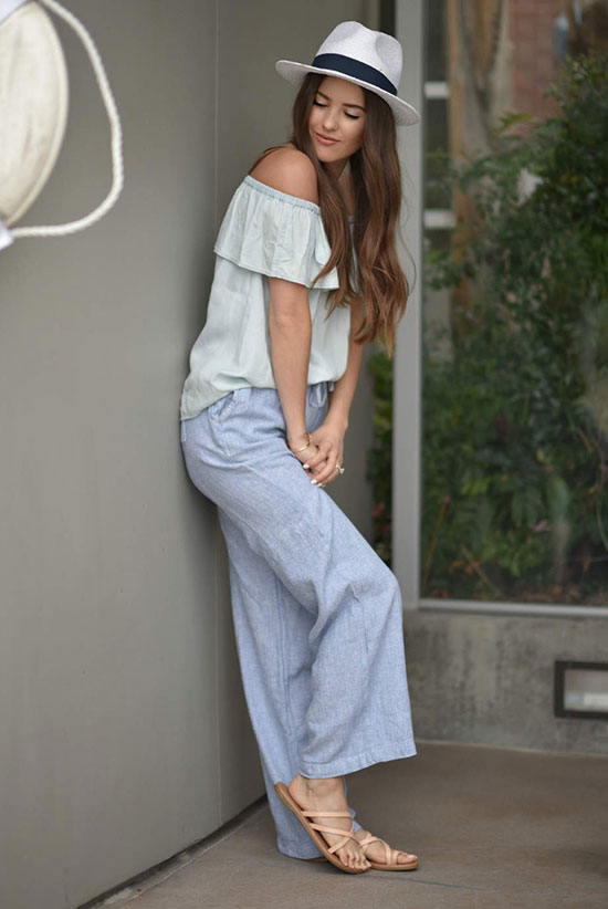 Summer outfits - The Top Blogger Looks Of The Week: Fashion blogger 'Blank Itinerary' wearing a panama hat, a mint off the shoulder top, chambray wide leg pants and nude sandals. Summer outfit, comfy outfit, casual outfit, beach outfit, summer getaway outfit, summer vacation outfit, street style.