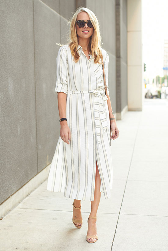 Summer outfits - The Top Blogger Looks Of The Week: Fashion blogger 'Fashion Jackson' wearing a white stripe shirt dress, nude heeled sandals, brown sunglasses and a nude shoulder bag. Summer outfit, spring outfit, work outfit, summer work outfit, office style, casual outfit, street chic style.