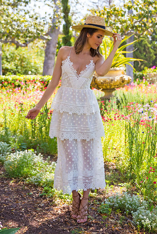Summer Outfits - The Top Blogger Looks Of The Week: Fashion blogger 'Front Roe' wearing a straw boater hat, a lace insert layer midi dress and brown caged sandals. Summer outfit, party outfit, getaway outfit, street chic style, summer dress, summer dresses.