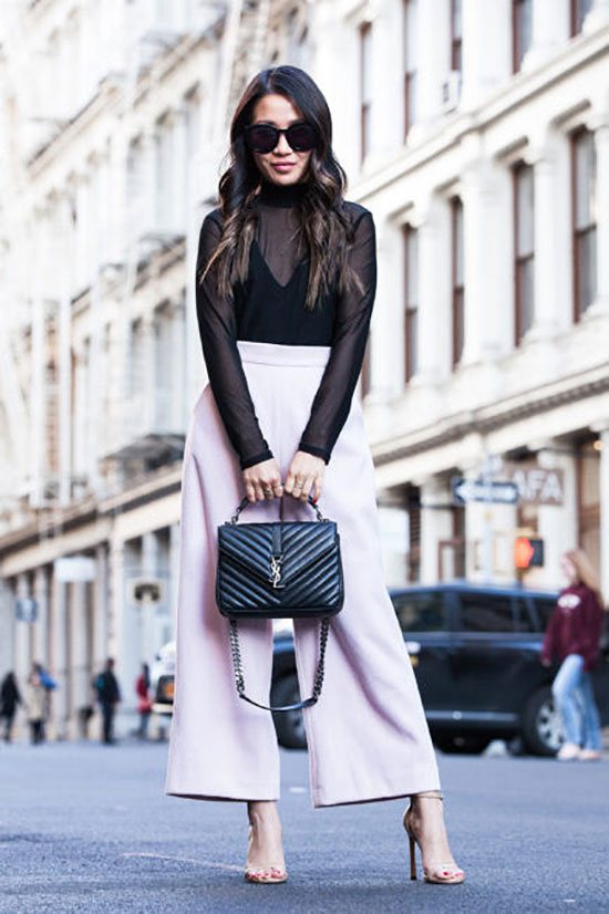 Summer outfits - The Top Blogger Looks Of The Week: Fashion blogger 'Wendy's Lookbook' wearing a turtleneck mesh top, blush culottes, nude heeled sandals, black sunglasses and a black shoulder bag. Spring outfit, summer outfit, date night outfit, night out outfit, party outfit, street chic style.