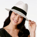 August Hats Head Turner Panama Hat, panama hat, white fedora, black and white fedora, black and white straw hat, white straw hat