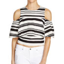 J.O.A. Stripe Ruffle Top, stripe crop top, stripe ruffle top, stripe cold shoulder top