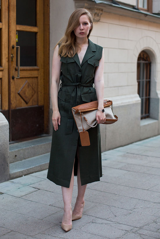 Summer Outfits - The Top Blogger Looks Of The Week: Fashion blogger 'Fashion Squad' wearing an olive sleeveless shirt midi dress, a brown handbag and nude heels. Summer outfit, summer work outfit, night out outfit, casual outfit, office style.